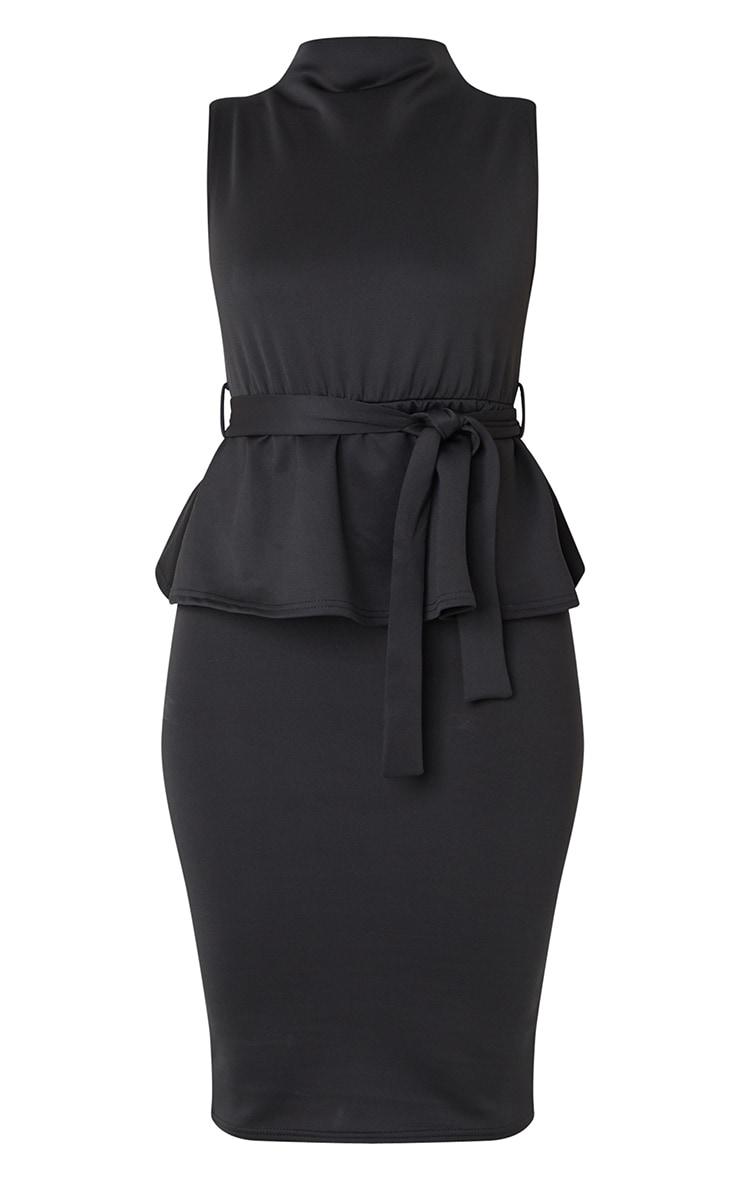 Black High Neck Tie Waist Peplum Midi Dress 5