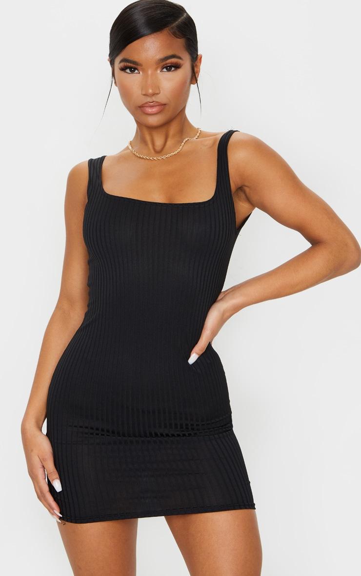 Black Ribbed Square Neck Bodycon Dress 1