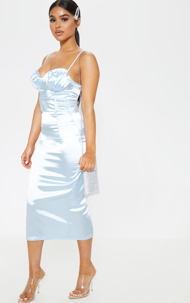 Petite Baby Blue Satin Frill Cup Detail Midi Dress