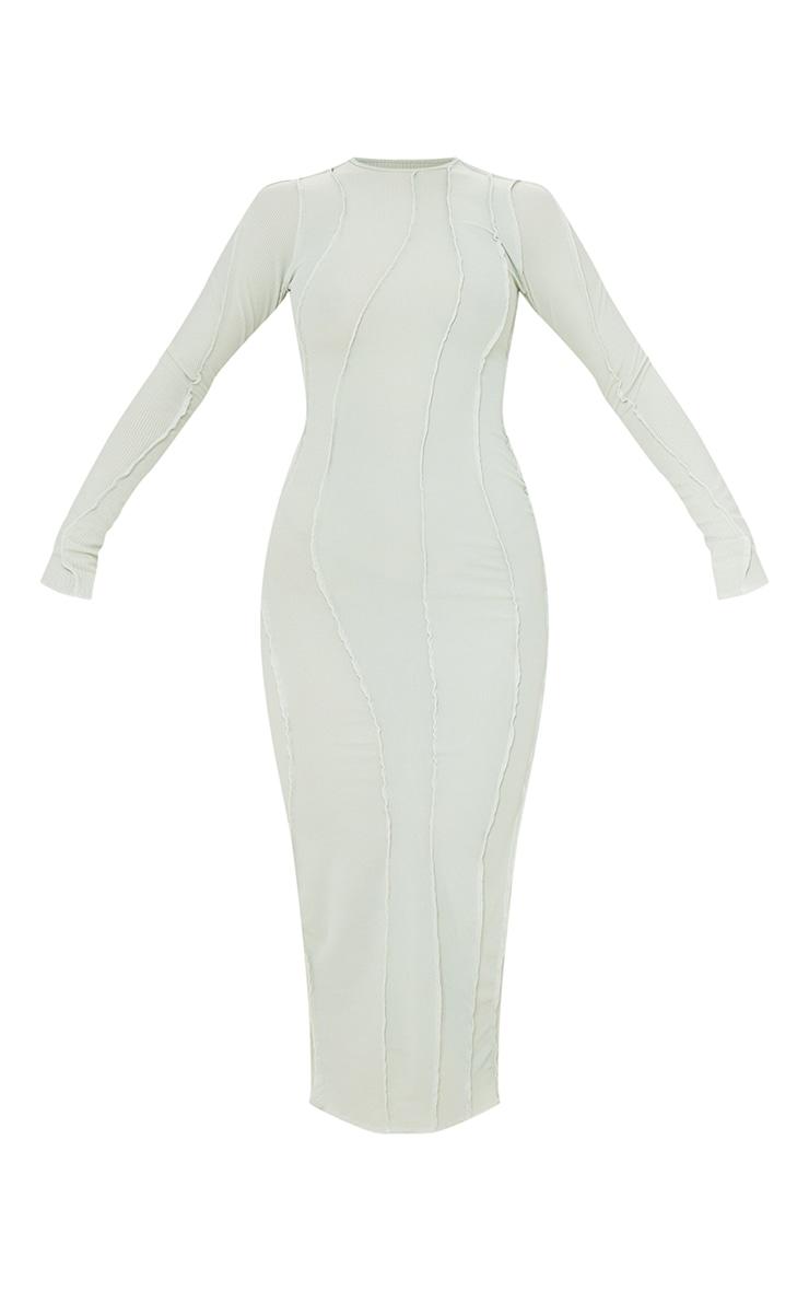 Sage Green Rib Asymmetric Seam Detail Long Sleeve Midi Dress 5