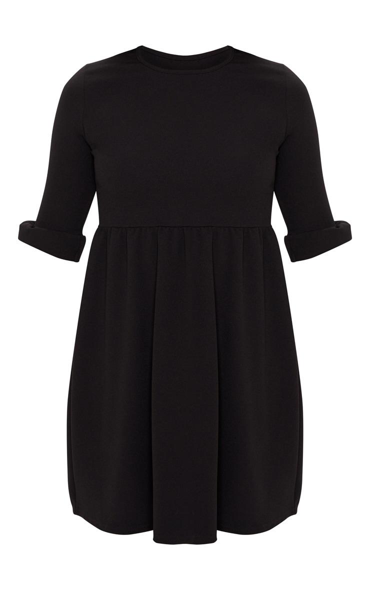 Black Frill Sleeve Detail Crepe Smock Dress 3