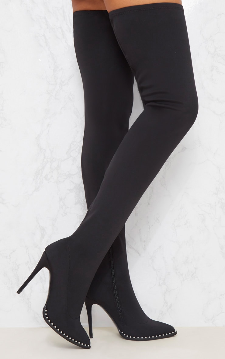 Black Neoprene Pearl Embellished Thigh High Boot 1