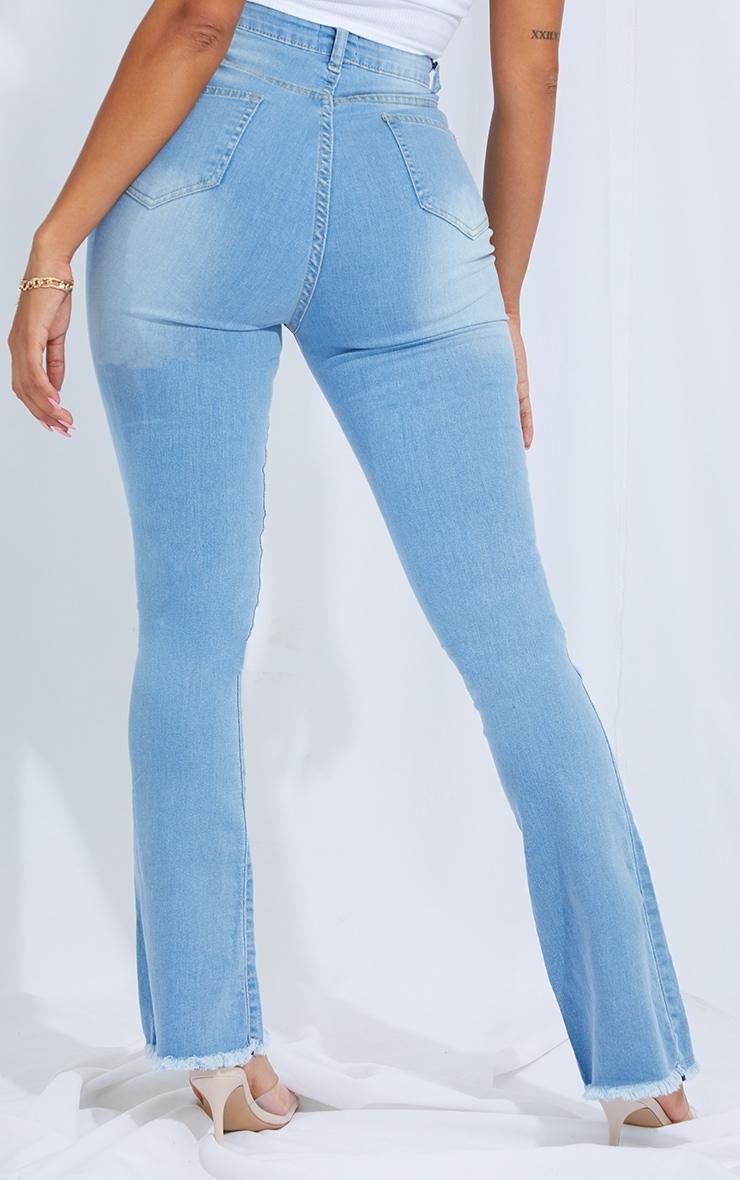 Shape Light Blue Wash Stretch Fray Hem Flared Jean 3