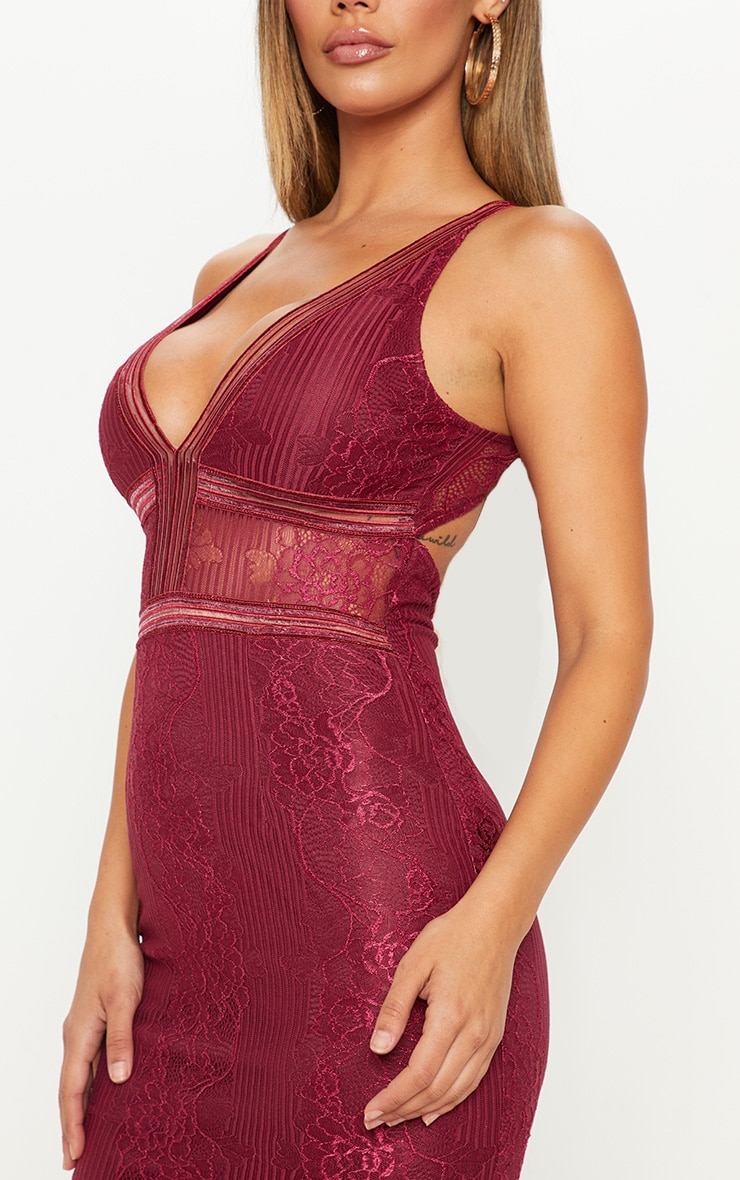 Burgundy Plunge Lace Open Back Midi Dress 5