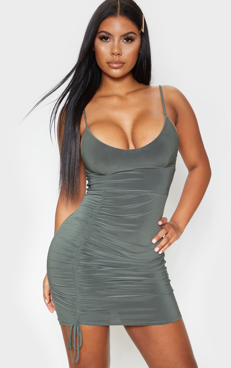 Khaki Slinky Strappy Cup Detail Ruched Bodycon Dress 1