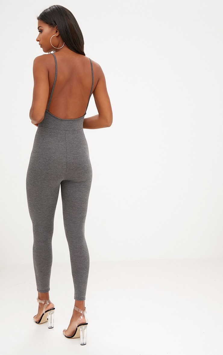 Charcoal Jersey Low Back Jumpsuit 2