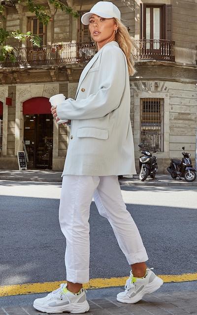 Mint Oversized Pinstripe Woven Blazer