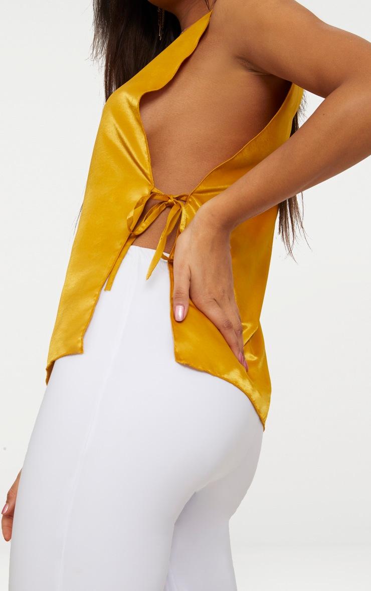 Mustard Hammered Satin Tie Side Cami Top  5