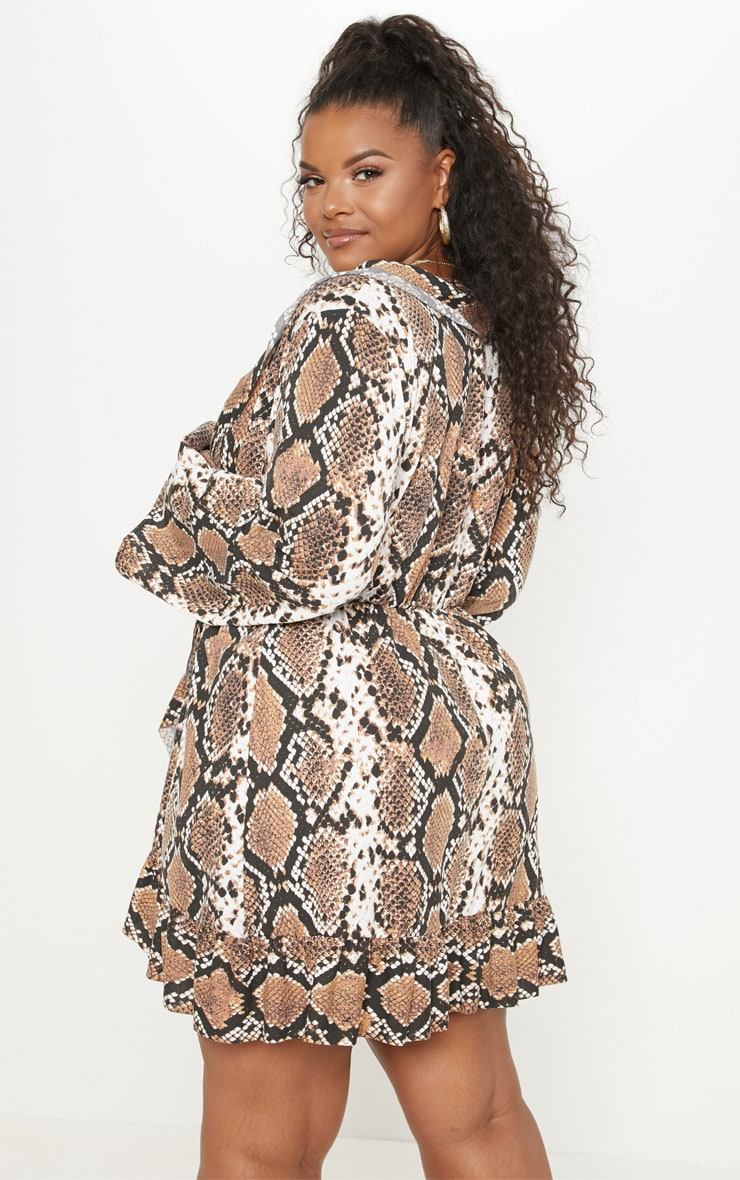 Plus Taupe Snake Printed Flare Sleeve Wrap Dress 2