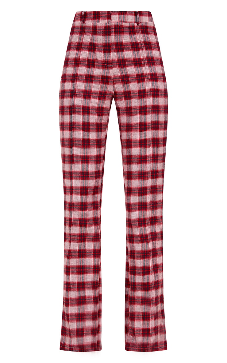 Red Check High Waisted Trousers 2