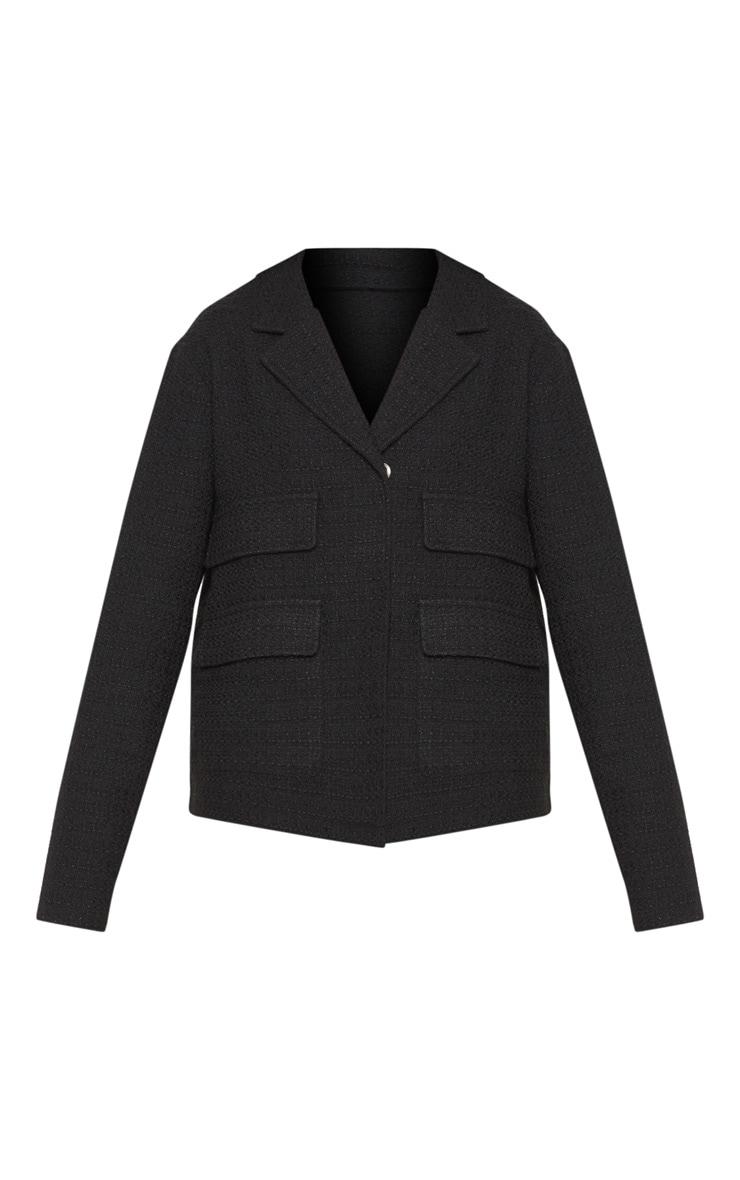 Black Boucle Boxy Jacket  3
