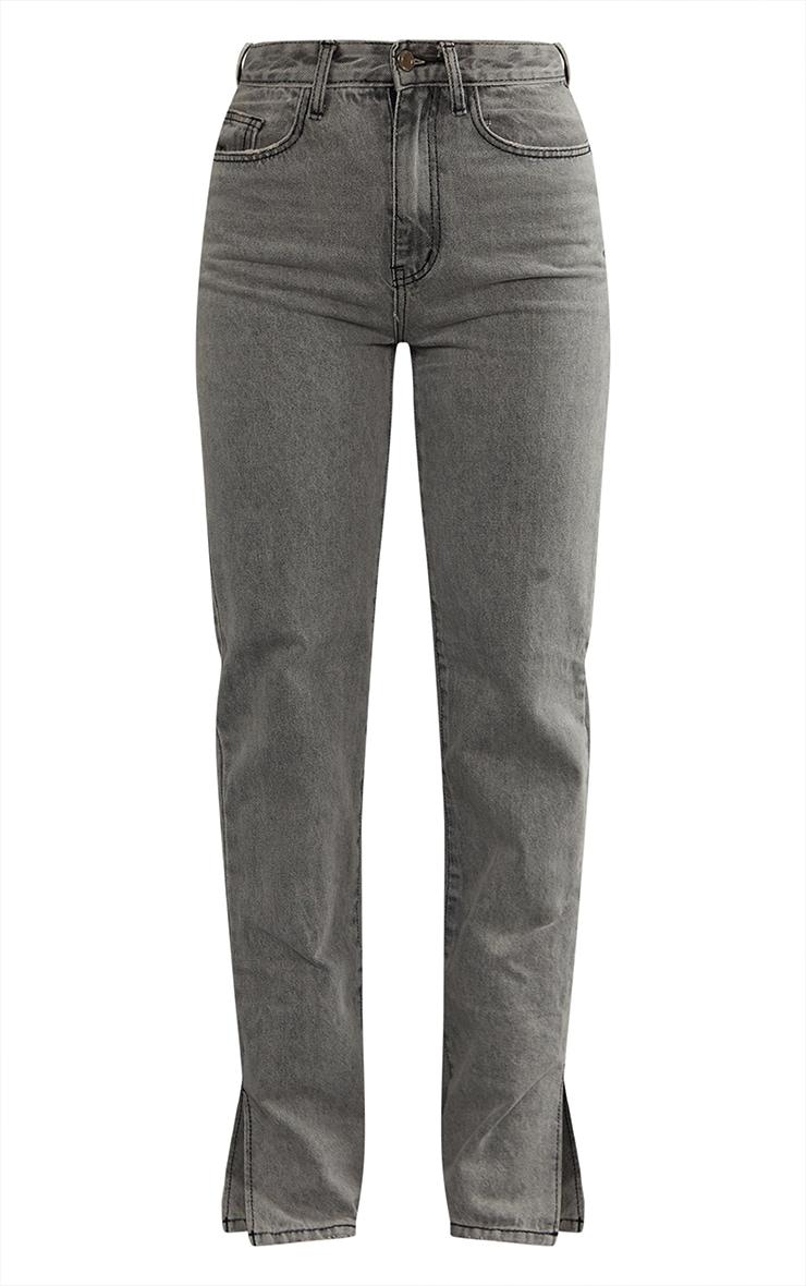 Jean droit gris délavé à ourlet fendu 5