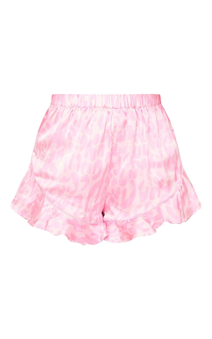 Bright Pink Leopard Print Satin Cami Short PJ Set 6