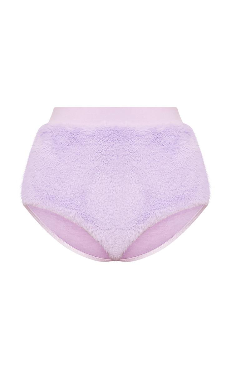 Coriane Lilac Faux Fur Hot Pants  3