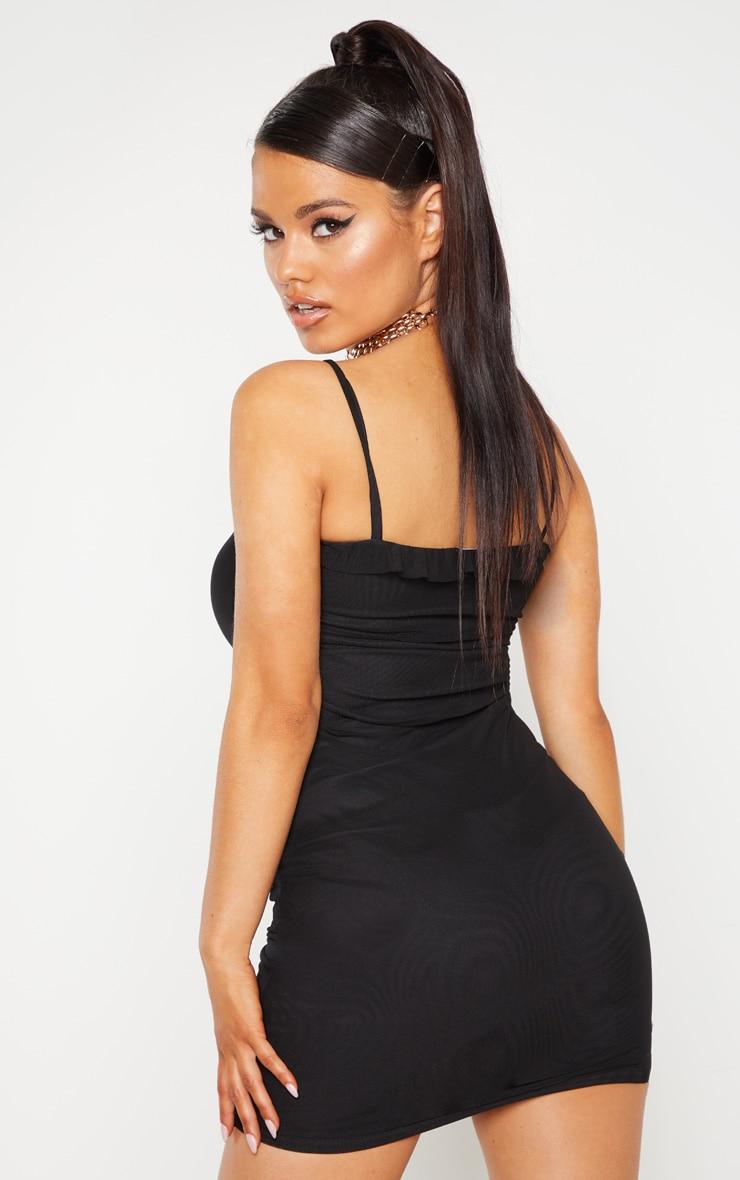 Petite Black Mesh Ruched Dress 2