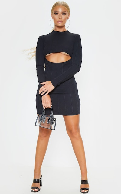 Black Long Sleeve Bandage Rib Cut Out Bodycon Dress