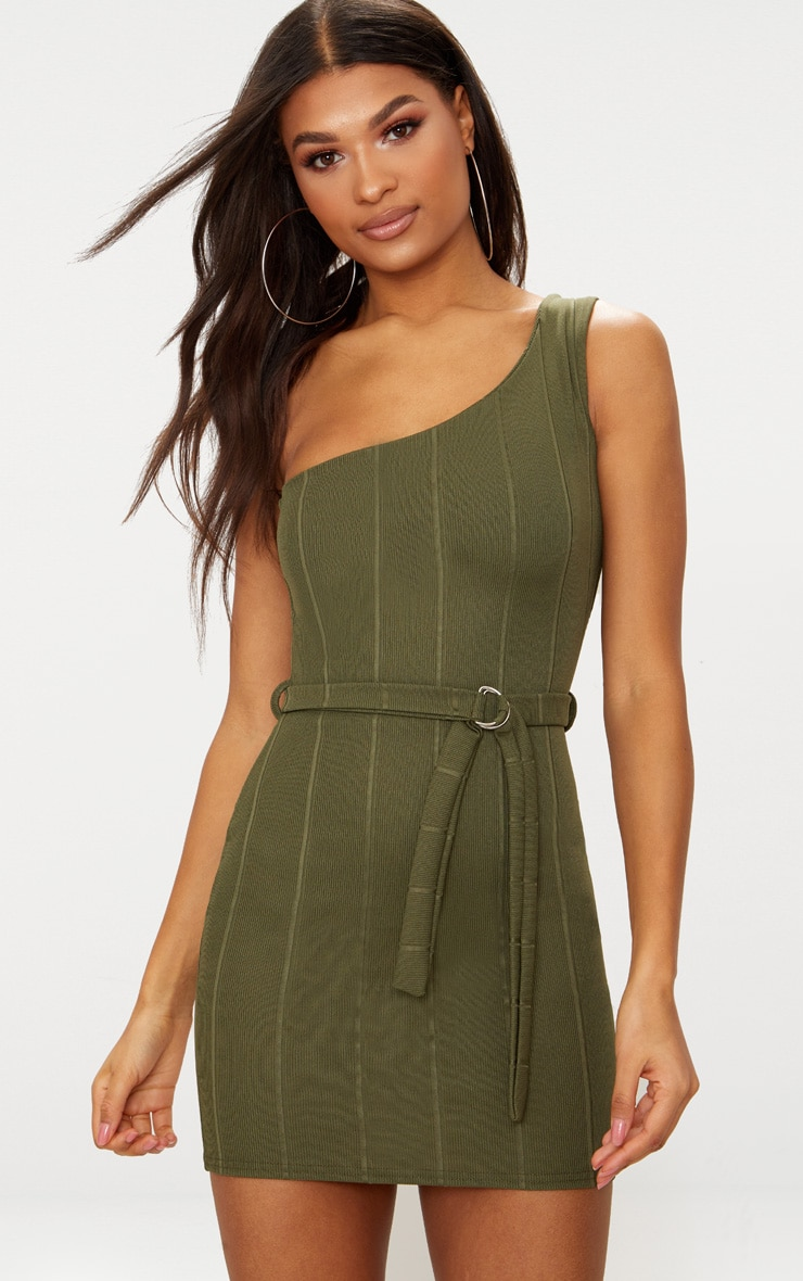 Khaki Bandage One Shoulder Belt Detail Bodycon Dress 1