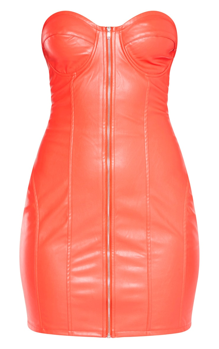 Orange Faux Leather Cup Detail Zip Through Bodycon Dress 3
