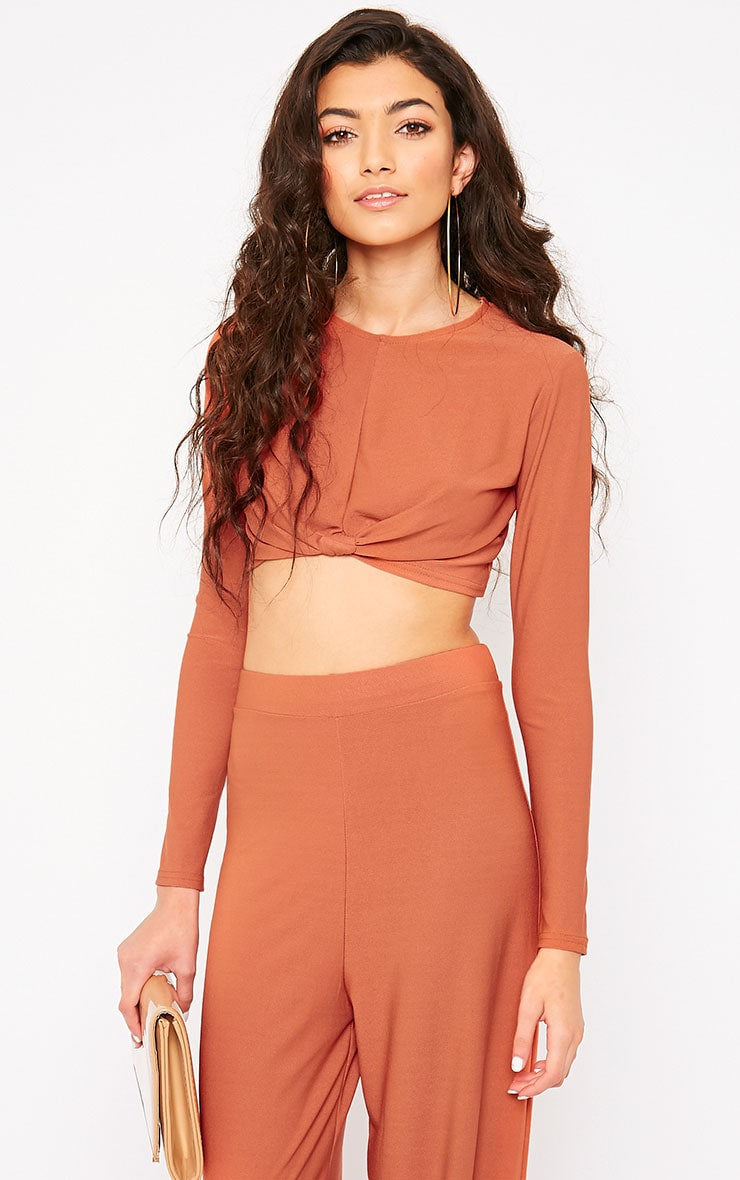 Zafia Rust Knot Front Crop Top 1