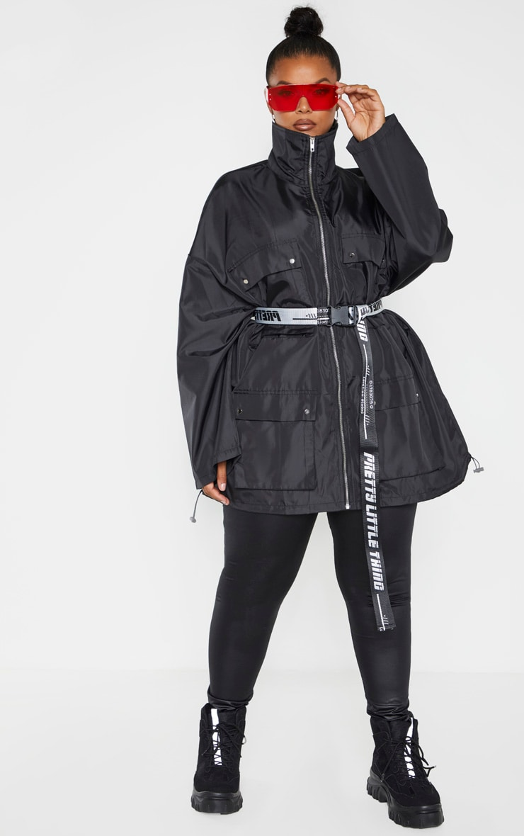 Plus Black Oversized Shell Utility Jacket 4