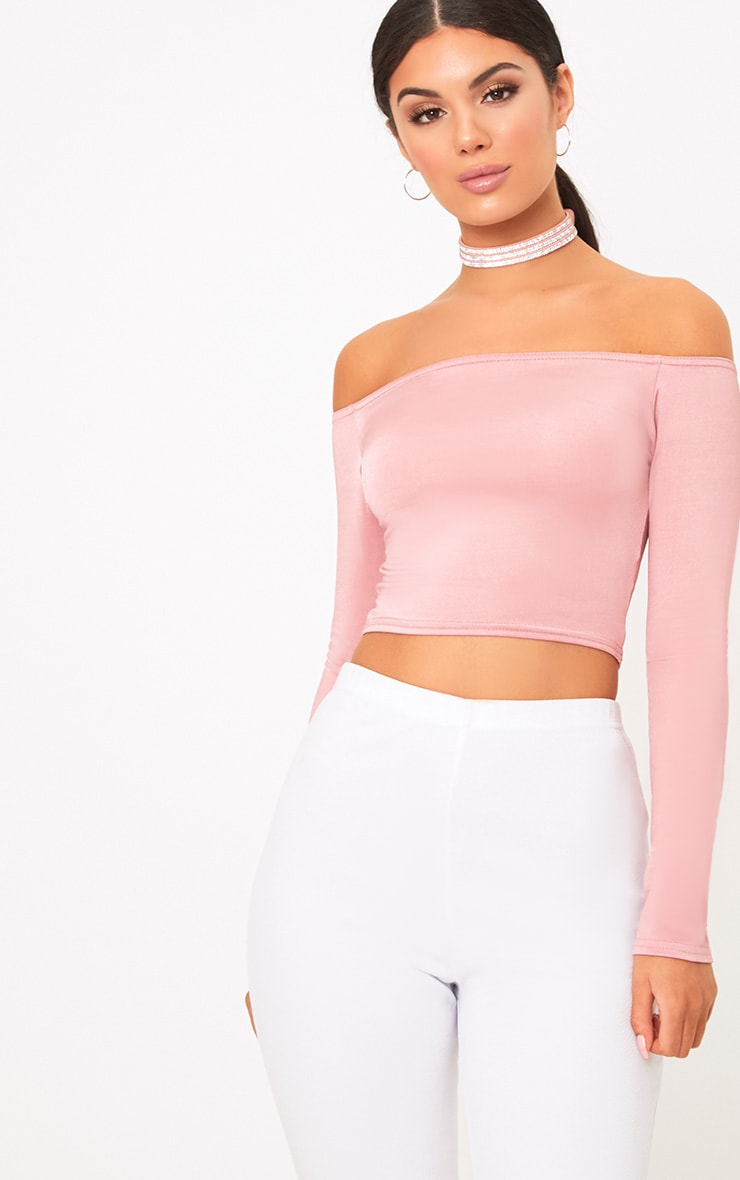 Alivia Rose Disco Slinky Bardot Longsleeve Crop Top 1