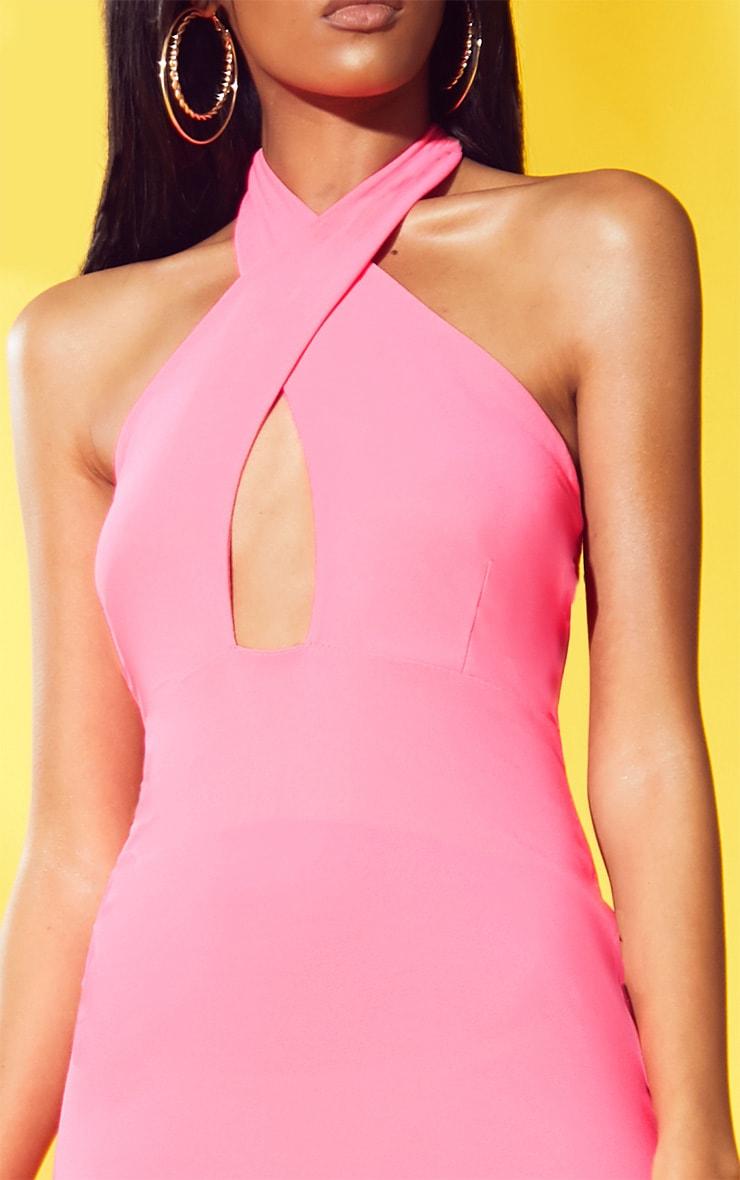 Neon Pink Cross Neck Bodycon Dress 5