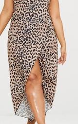 0cfb93c830 Plus Brown Leopard Print Wrap Detail Chiffon Beach Cover Up Dress image 5