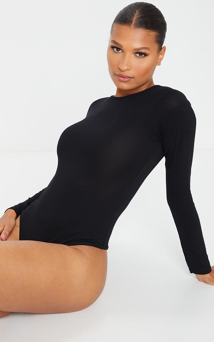 Basic Black Crew Neck Long Sleeve Bodysuit 2