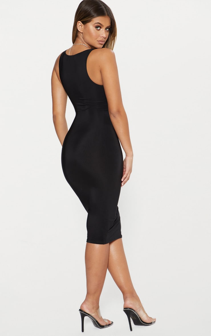 Black Second Skin Double Layered Slinky Scoop Neck Midi Dress 2