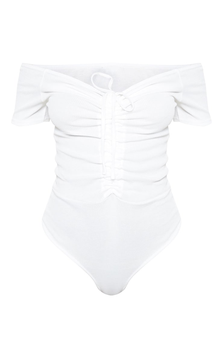 White Rib Bardot Ruched Front Short Sleeve Bodysuit 3