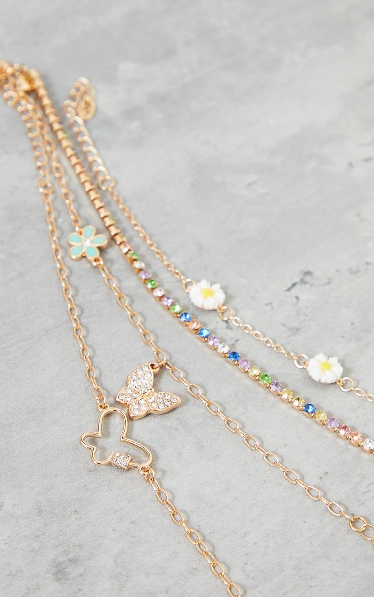 Gold Assorted Butterfly Diamante Pastel Bracelets 3