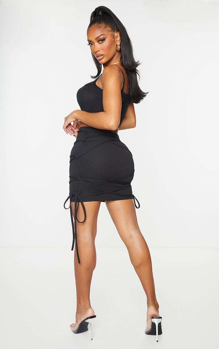 Shape Black Extreme Tie Detail Wrap Bodycon Skirt 1