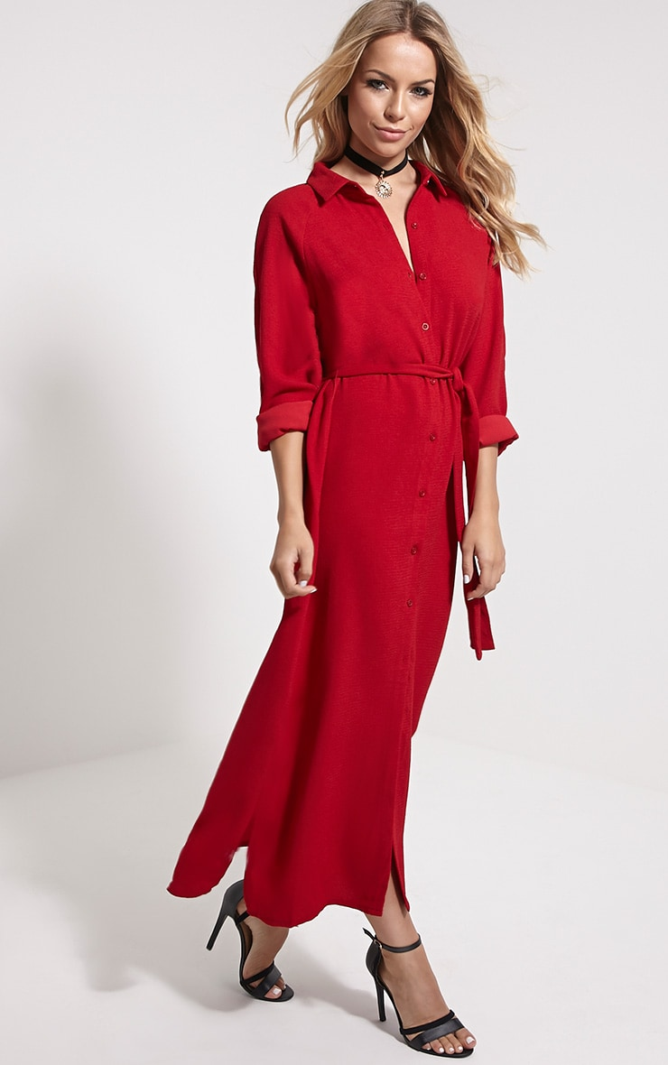 Ayla Red Longline Crepe Shirt Dress 1
