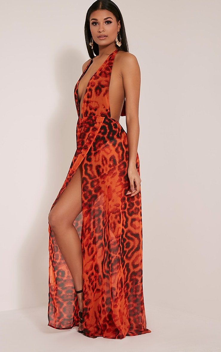 Alina Orange Leopard Print Plunge Maxi Dress 4