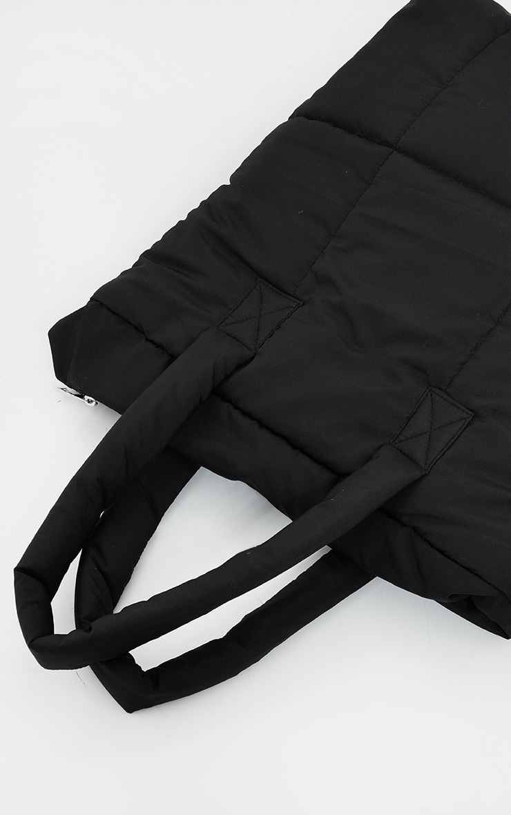 Black Quilted PU Tote Bag 2