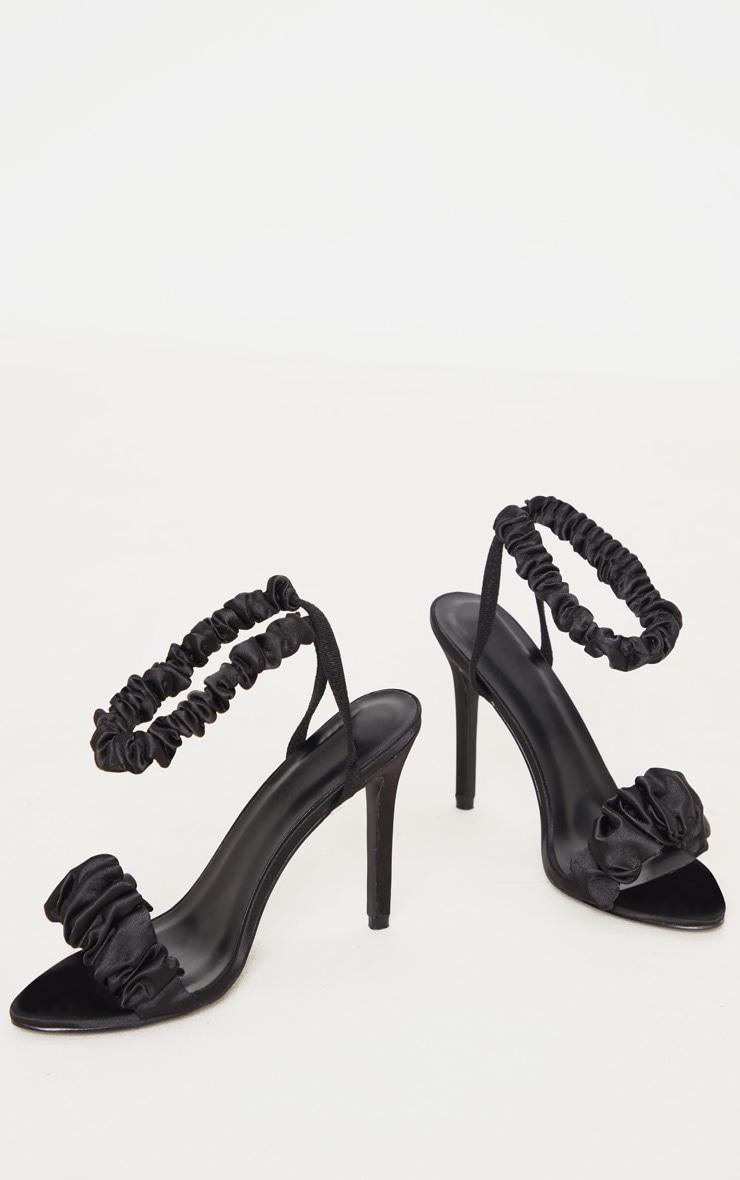 Black Ruched Double Strap Sling Back Heeled Sandal 3