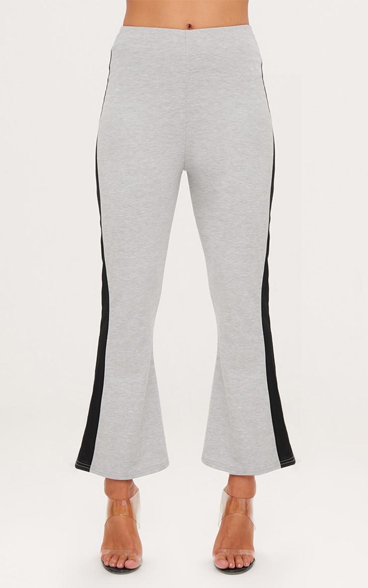 Grey Track Stripe Kick Flare Trousers 2