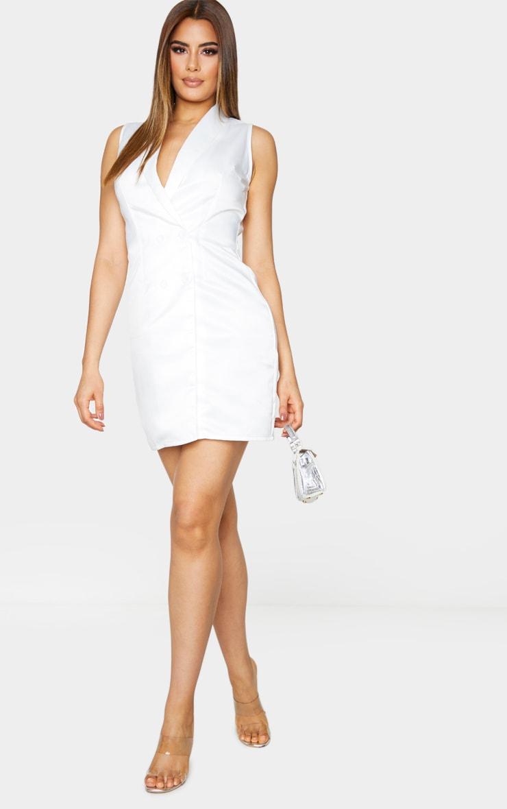 Tall Cream Sleeveless Plunge Blazer Dress 1