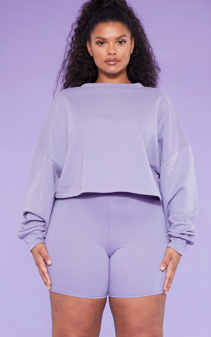 RECYCLED Plus Violet Crop Sweater 1