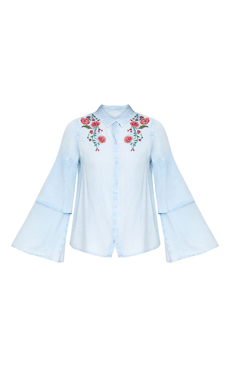 Light Wash  Embroidered Ruffle Sleeve Shirt 2