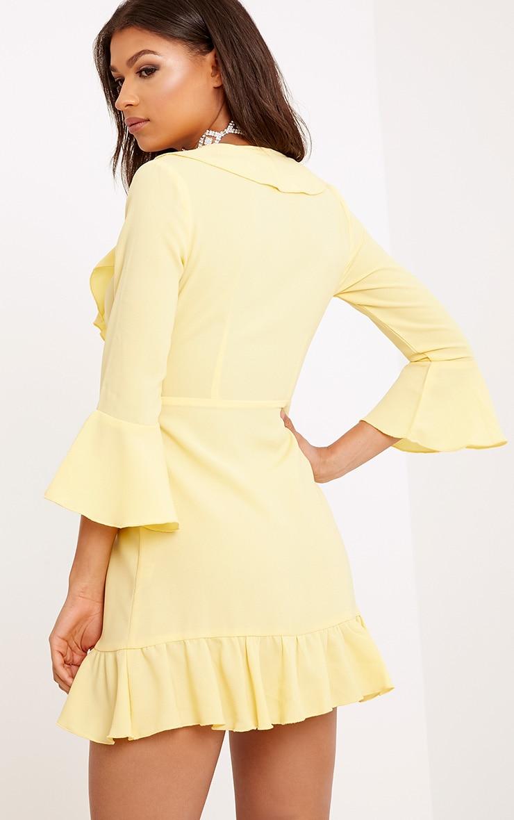 Ilisha Lemon Frill Wrap Dress  2