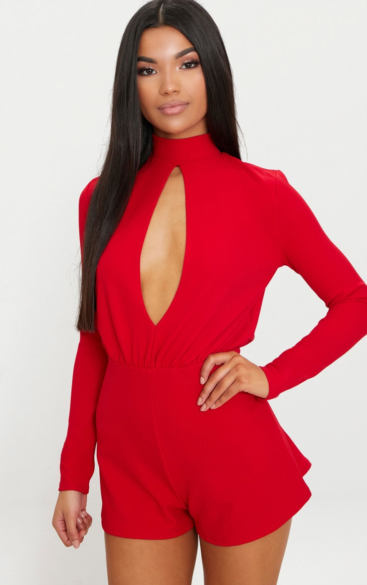 Red Keyhole Cut Out Playsuit 1