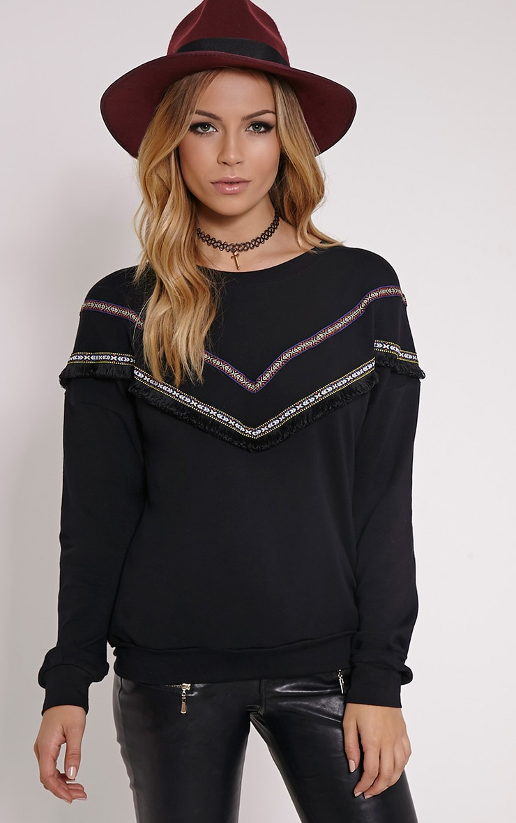 Kaysha Black Tribal Fringe Jumper 1