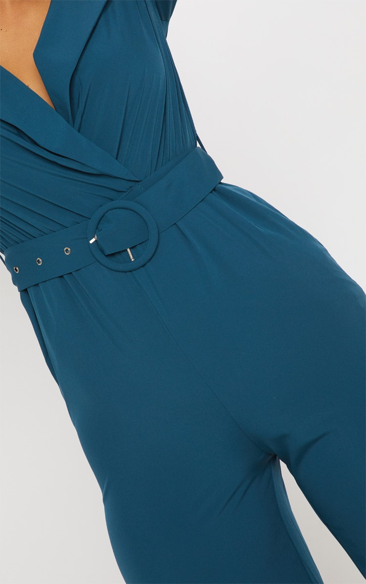 Teal Belt Detail Wide Leg Jumpsuit 5