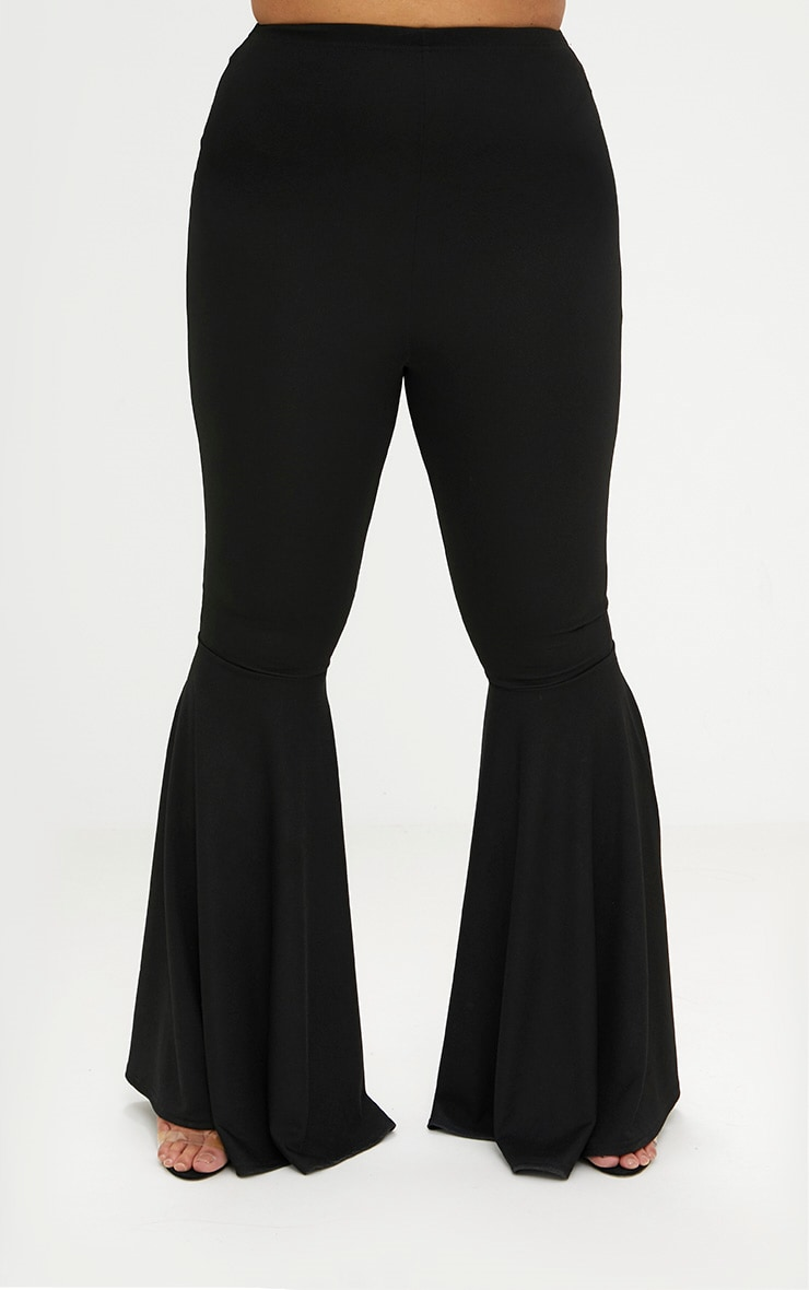 Plus Black Fit and Flare Leg Trousers 4