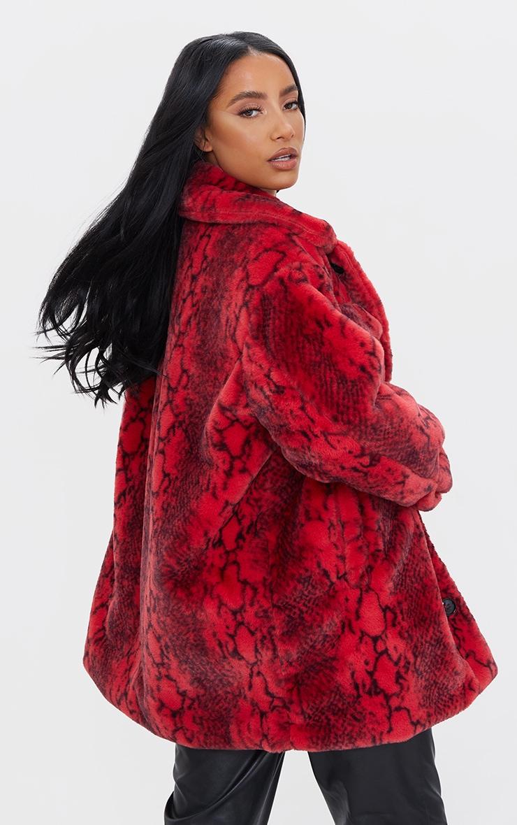 Red Snake Print Faux Fur Coat 2