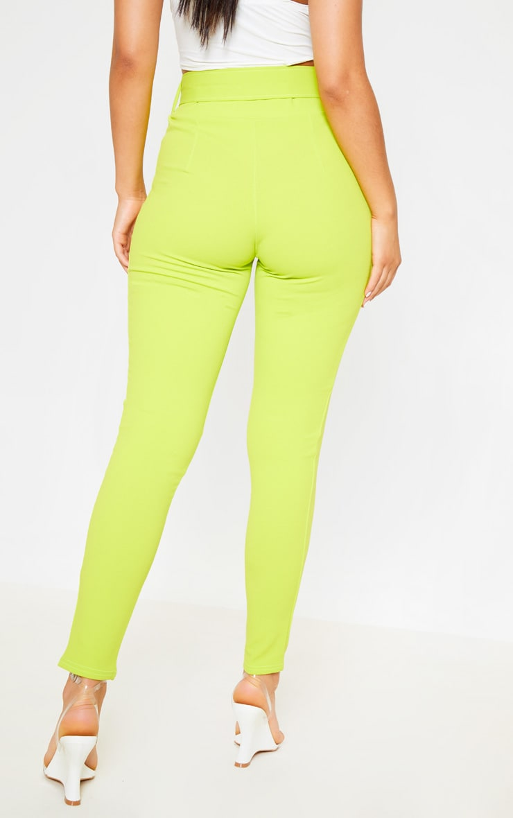 Neon Lime Belted Waist Skinny Trouser 4
