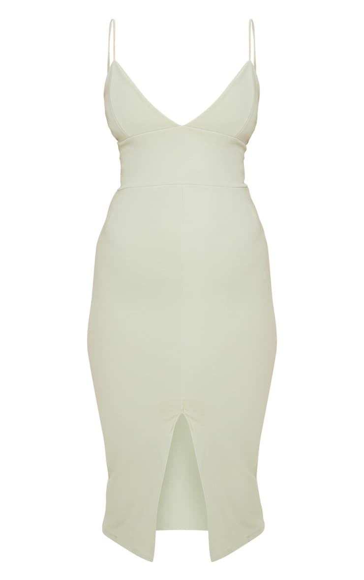 Sage Green Strappy Plunge Midi Dress 3