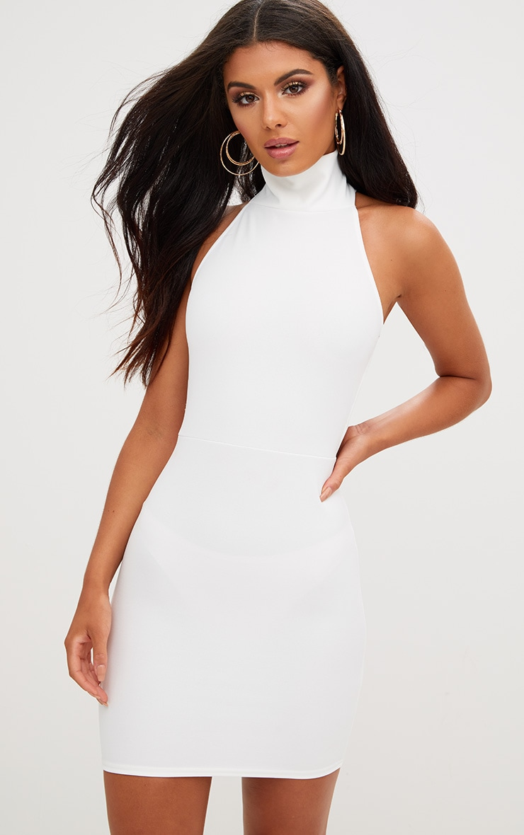 White Lace Up Back Extreme High Neck Detail Bodycon Dress 2