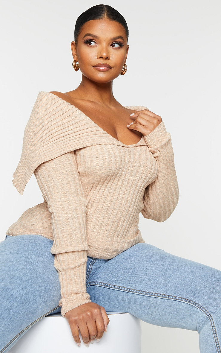 Plus StoneOff Shoulder Collar Detail Ribbed Jumper 2